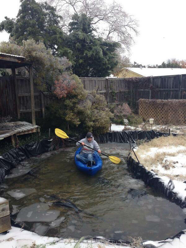 "Geoff Barry decided to brave the ""treacherous, icy waters"" in this backyard in Carrollton.."