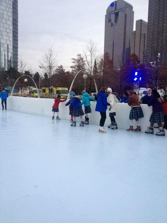 Some students were afraid of getting on the ice at Klyde Warren Park.
