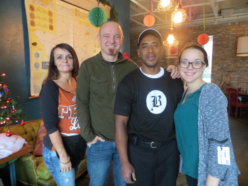 From left: former inmate Gloria Hulsey; employer Joey Turner, owner of Brewed; former inmate Yoshio Williams; and Miranda Holland, a Brewed employee working with the inmate hiring program.