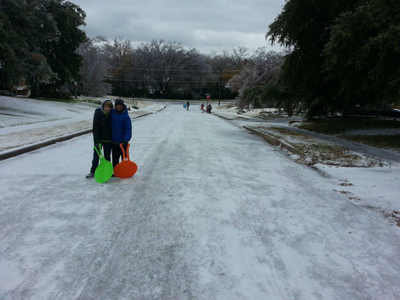 In Richardson, an icy street made for good downhill sledding along Downing Drive in Richardson Heights.