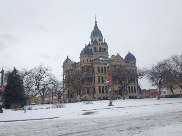The view from the Denton County courthouse.