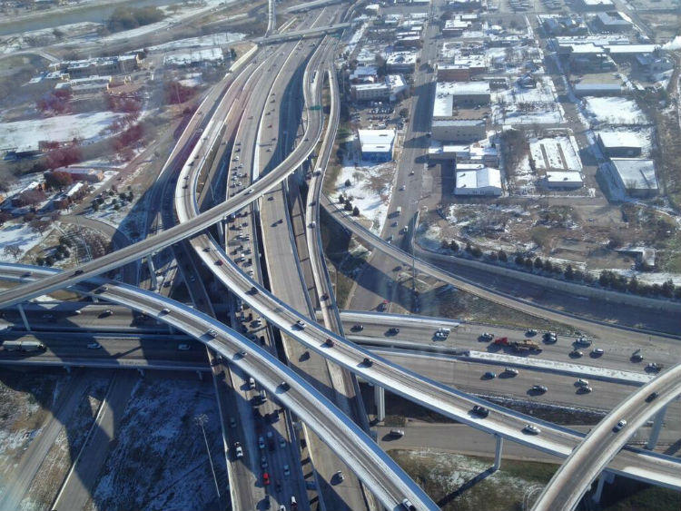 A Fort Worth police helicopter surveyed traffic Tuesday morning at Interstates 30 and 35 in Fort Worth.