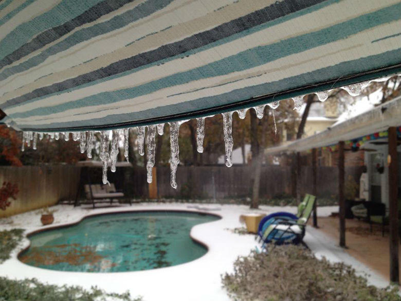 It's not a good day to take a dip in the pool. This picture was taken in Grapevine.