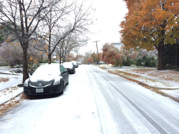 Most of Dallas-Fort Worth is covered with ice and sleet. Here's the scene in the M streets in Dallas.