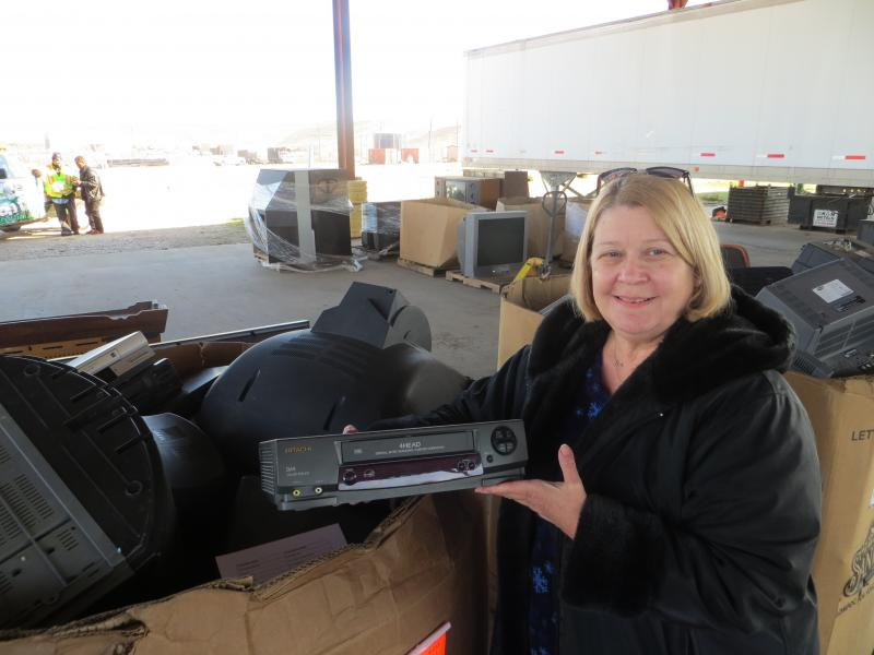 Shiela Overton, the waste diversion manager for Dallas, at the McCommas site for recycling electronics.