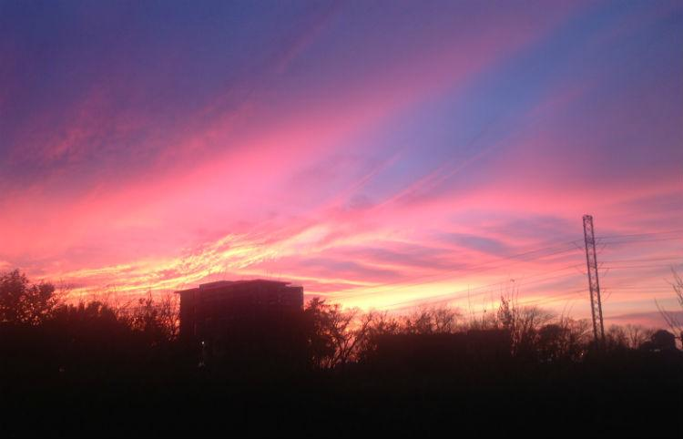 A view of Thursday's pretty sunset from near downtown Dallas.