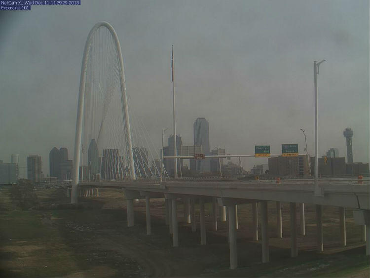A look at the Margaret Hunt Hill Bridge this morning from a web camera.