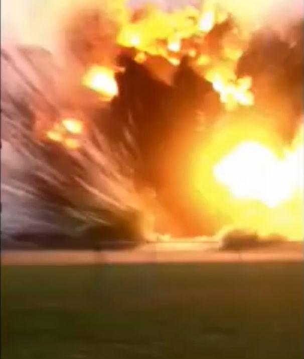 A frame from the viral video showing April's explosion in West, Texas.