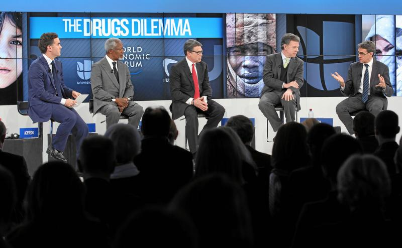 Gov. Rick Perry, center, was part of a panel about drugs at the World Economic Forum in Switzerland.