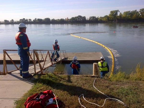 In 2012, a TransCanada crew deployed an oil containment boom on the Missouri River during an exercise.
