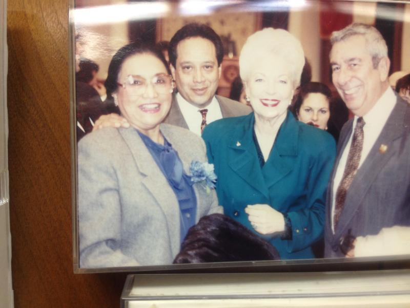 Adelfa Callejo with the late Texas Gov. Ann Richards at a State Democratic Convention. She's joined by her nephew, John David Gonzales (left), and husband, Bill Callejo (right).
