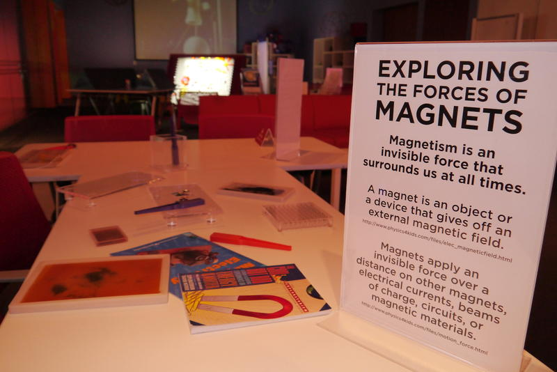 Magnets and other learning tools are part of the new learning center at the Fort Worth Museum of Science and History.
