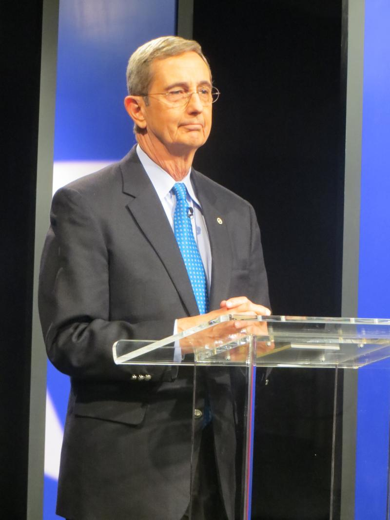 Texas Land Commissioner Jerry Patterson debating at the KERA studios.