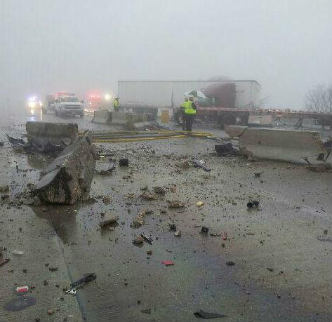 Debris littered Interstate 30 over Lake Ray Hubbard -- the highway has been closed for several hours.