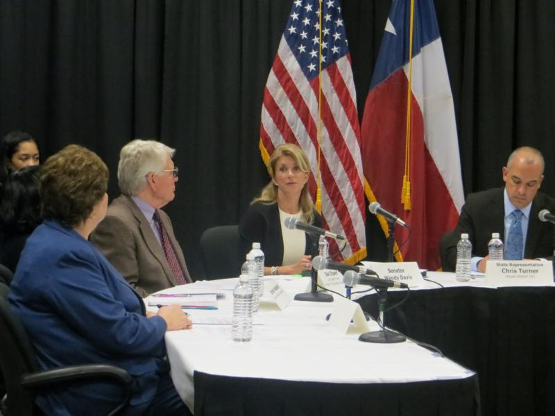 Sen. Wendy Davis, the likely Democratic nominee for governor, met with North Texas educators before releasing a plan for increasing the number of Texas teachers.