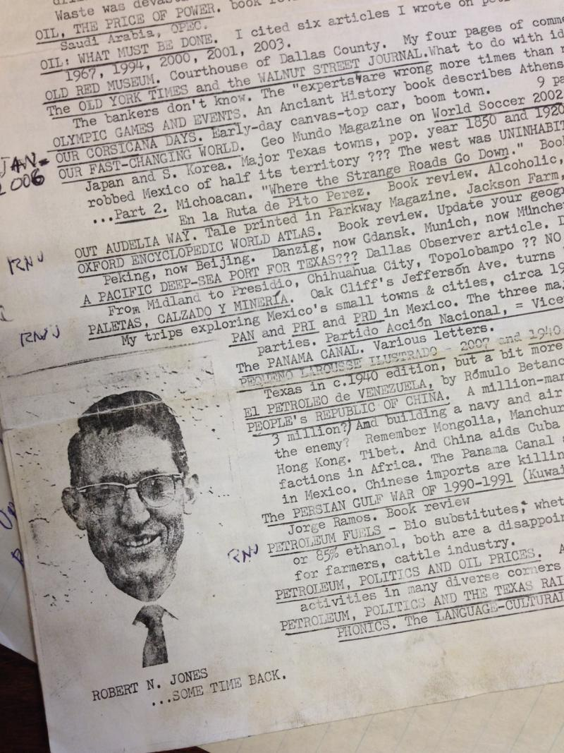 "One of Robert Jones' typewritten notes with a list of inventory, this one with a photo of Jones from ""some time back."""