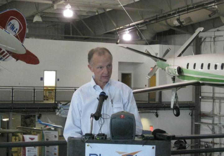 Jim Thompson is co-founder of the Blue Sky Foundation that encourages aviation education. He's standing in the Frontiers of Flight Museum at Dallas Love Field.