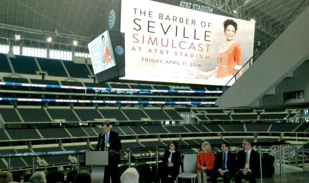 A simulcast of The Barber of Seville will be shown April 11 at AT&T Stadium in Arlington.