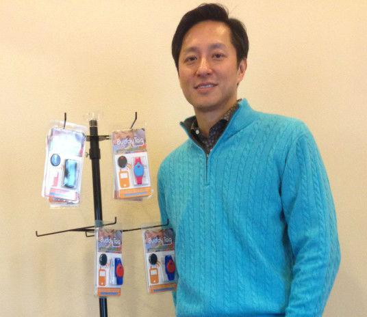 Willie Wu, BuddyTag inventor, in his Plano office.