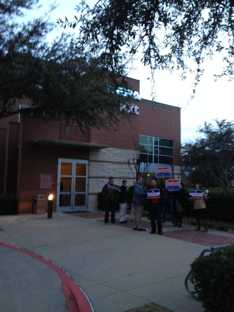 Various supporters of the candidates have been gathering outside the KERA studios throughout the evening.