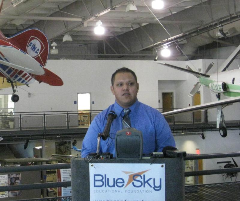 Sammie Perez went through the aviation program at Dallas' Skyline High and is now a step away from getting his flight instructor certification.
