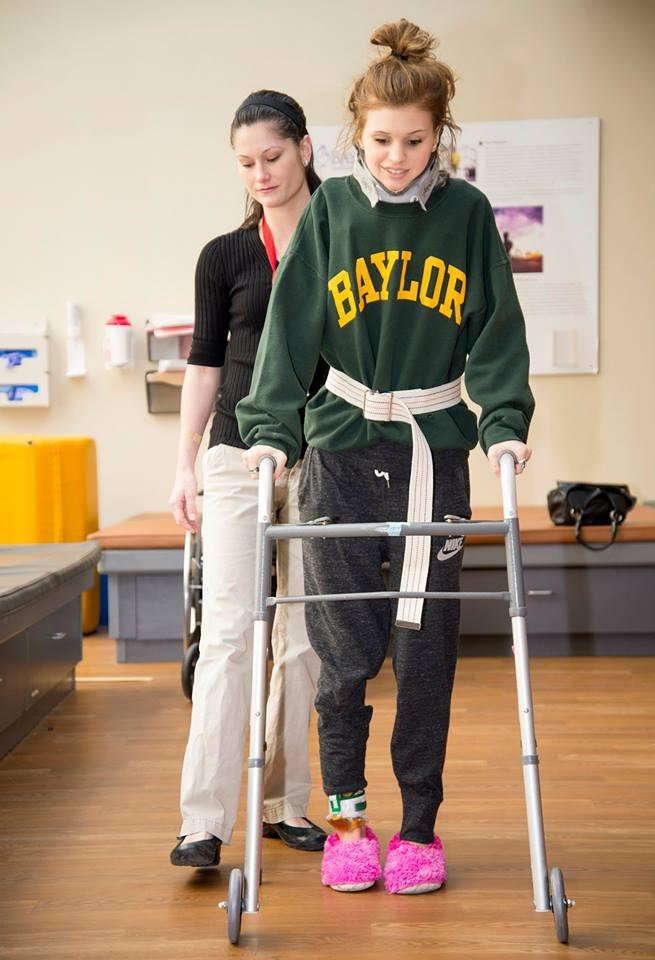 Makenzie Wethington of Joshua participated in a physical therapy session Monday at Baylor Institute for Rehabilitation.