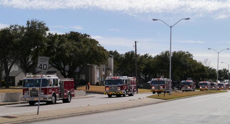 More than 60 firetrucks and other emergency vehicles traveled from Terrell to Dallas to honor William Scott Tanksley.