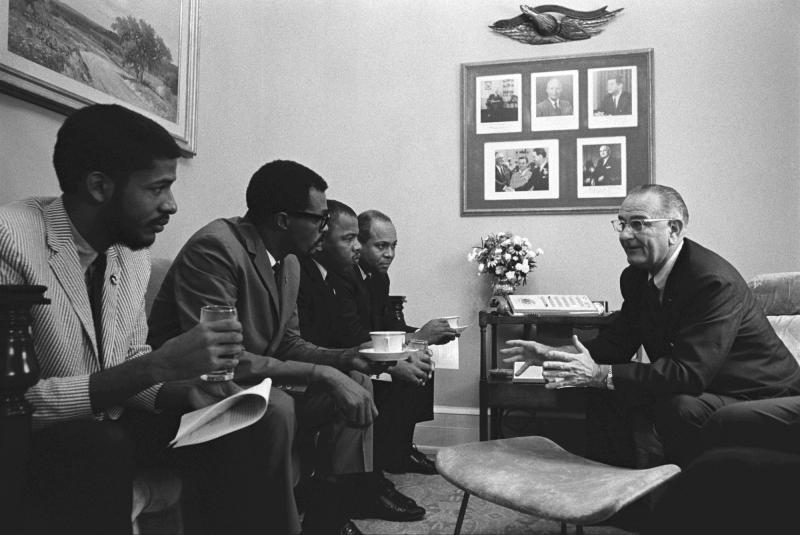 President Lyndon Johnson met with Civil Rights activists in 1965.