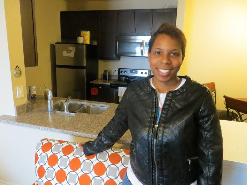 Ladeva Hampton, a bus driver with two sons, lives in North Court Villas in Frisco, a housing development for low-income residents.