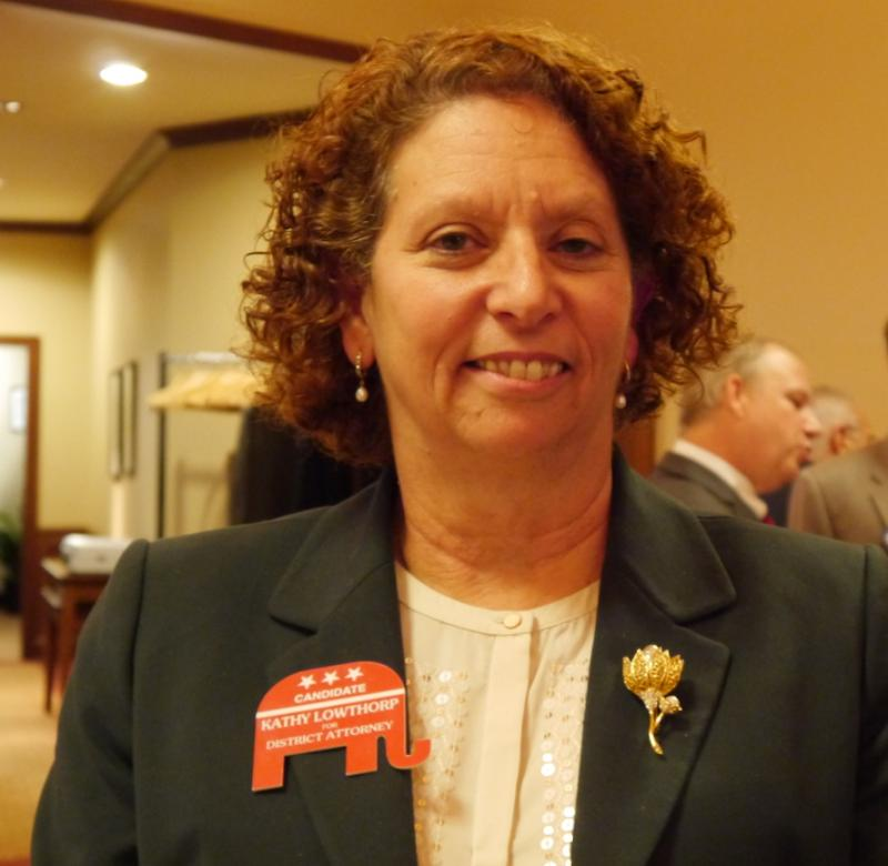 Republican Kathy Lowthorp is the only candidate for district attorney with a law enforcement background.