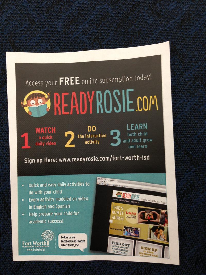 Fliers like this one were handed out to parent liaisons at a recent meeting in Fort Worth. The ReadyRosie videos are available in English and Spanish.