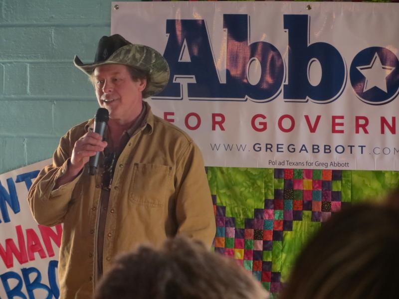 Ted Nugent campaign with Republican Gubernatorial Candidate Greg Abbott in Denton on Tuesday.