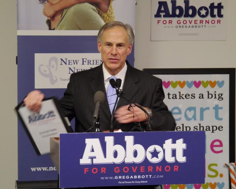 Republican Greg Abbott speaks during a Dallas stop Tuesday for his gubernatorial campaign.