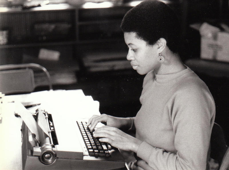 A 25-year-old Shay Youngblood works at the Yaddo artists colony in 1985. She would later chase the spirit of fellow alums Langston Hughes and James Baldwin to Paris.