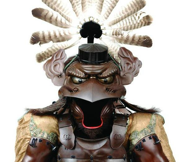 This Tengu armor from 1854 is made of iron, lacquer, fiber, bear fur, leather and feathers.