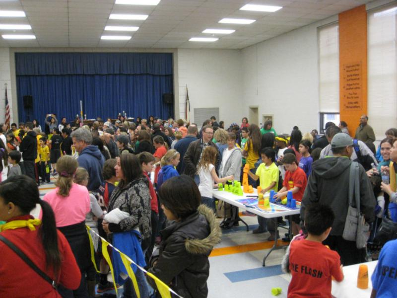 A crowded cafeteria at Major Cheney Elementary.  Other rooms in the school were packed like this too for the all-day Sport Stacking Invitational.