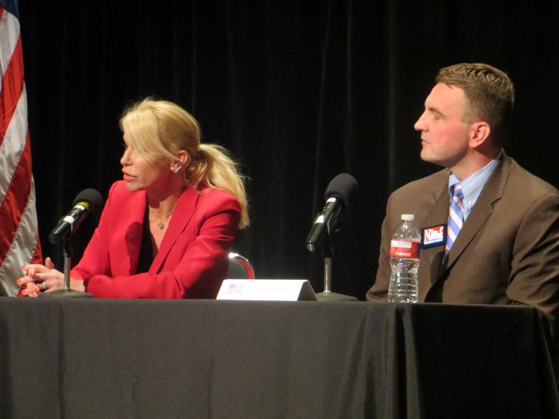 Former Judge Susan Hawk and ex-prosecutor Tom Nowak at Garland tea party debate.