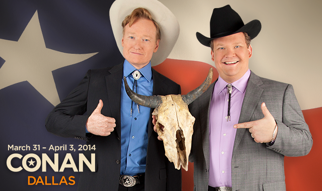 Conan O'Brien and his sidekick, Andy Richter, will tape their talk show in Dallas in late March and early April.