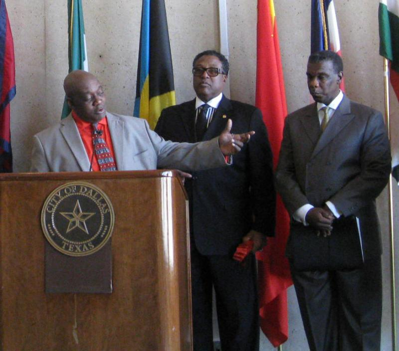 l-r, Ed Jones, with AHF, Dallas City Councilman Dwaine Caraway, Dallas County HHS Director Zachary Thompson, as they all urged condom use to help prevent HIV and other sexually transmitted diseases