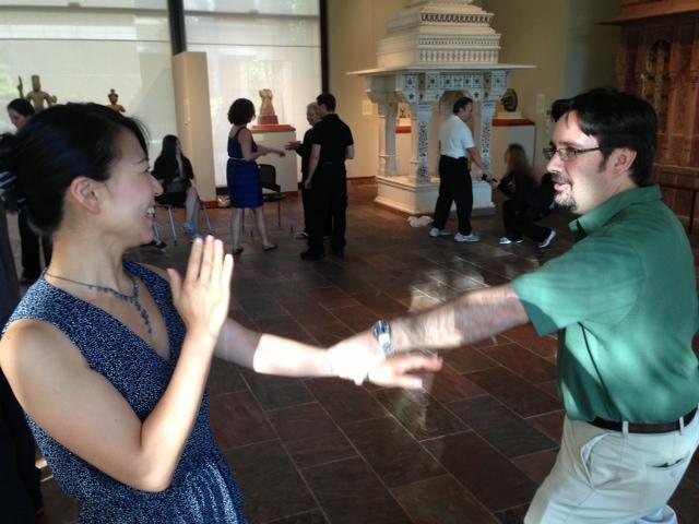 Juneko Ikeda and husband Kent Cummings worked on escaping wrist grabs at Ninja Night.