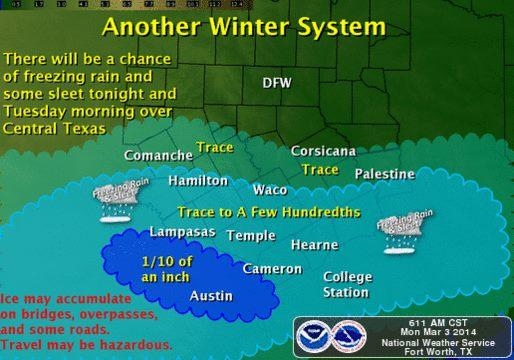 Another blast of winter is coming tonight, but this time it will hit Central Texas.