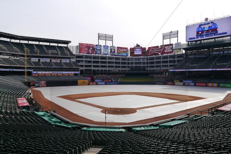 It's opening day for the Texas Rangers. They play the Phillies at 1:05 p.m. Monday at Globe Life Park in Arlington. Don't worry: The tarp has been removed. (This picture was taken earlier this year.)
