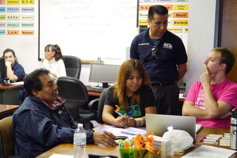 Karen Estrada  brought her father J. Cruz to the LULAC National Education Service Center, where health-care professionals called navigators helped to explain what her options are under the Affordable Care Act.