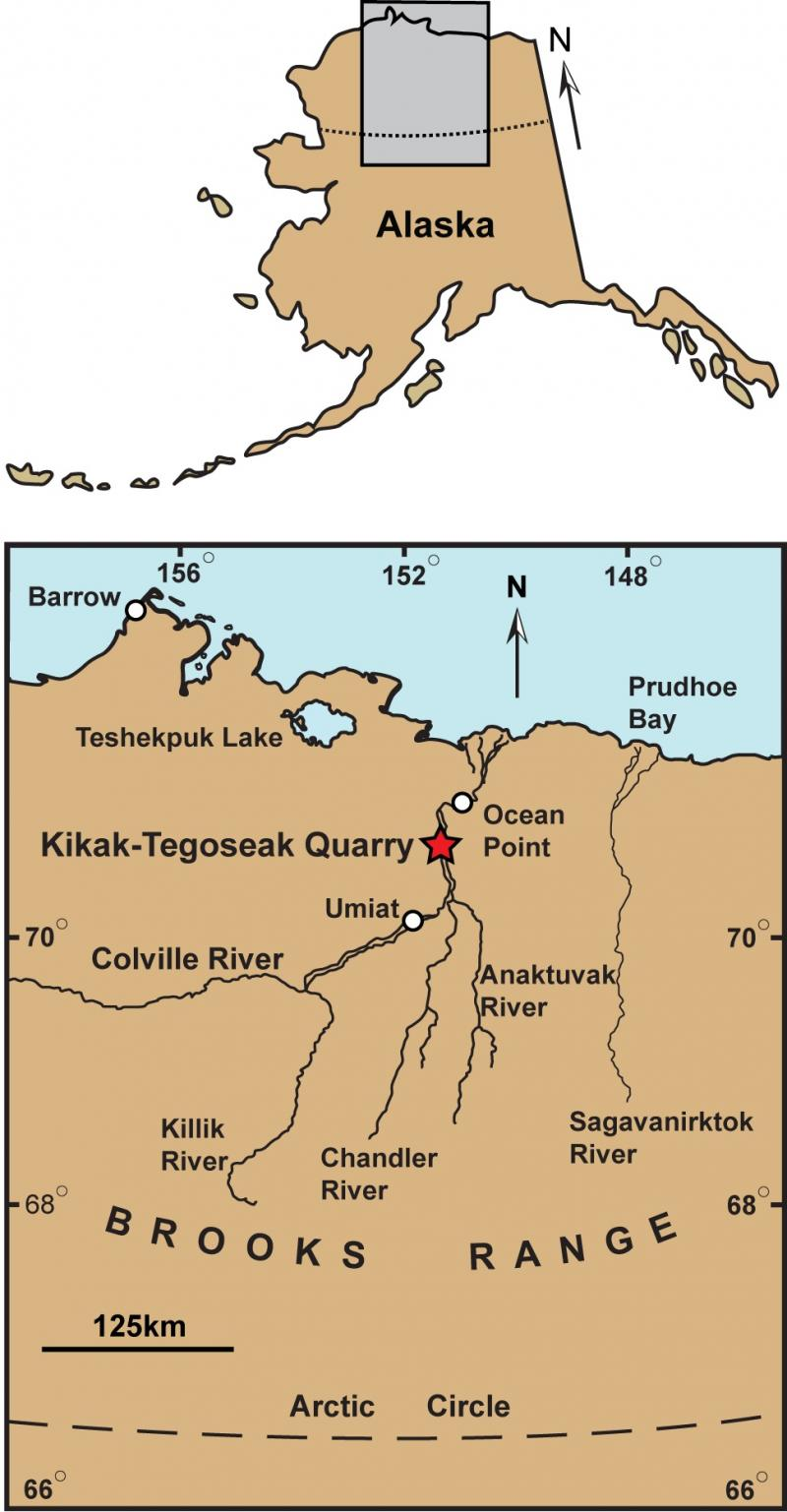 Map of North Slope area of Alaska where Nanuqsaurus was discovered
