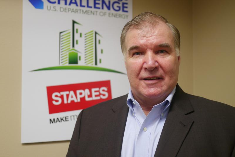 "Bob Valair is a CEM, or Certified Energy Manager for Staples. He says the Coppell center has reduced its energy cost by 26 percent in the last year, thanks to LEDS's, industrial fans, and ""Eco-Treasure Hunts."""