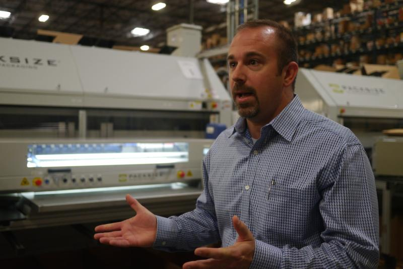 Bob Grazion, a Staples manager in Coppell explains how Staples used to package its products in only six box sizes, but now, to reduce energy, its moved to a new system, custom-making every box, while reducing energy.