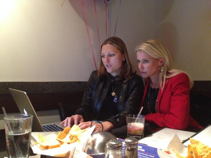 Susan Hawk (on the right), a Republican candidate for Dallas County District Attorney, looked at early voting results with Jennifer Ring Pascal, chief operating officer and co-owner of Allyn Media. They are at Mi Cocina in North Dallas.