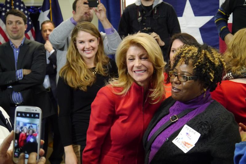 Wendy Davis, the Fort Worth Democrat who's running for governor, greeted supporters Tuesday night in Fort Worth.