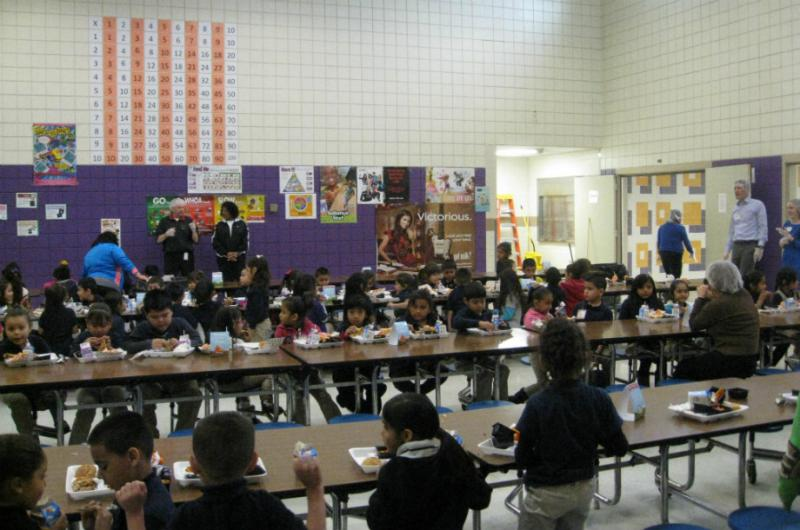 Some Bowie Elementary kids in the cafeteria on Tasty Teaser day. Next month they'll sample fruit or veggie from Texas
