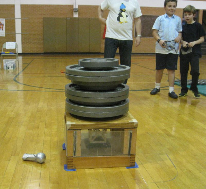 After the competition, Kyle and others loaded more than twice the weight on the team's wood structure than they dared try during the competition. They stopped after 430 pounds and the balsa still held up